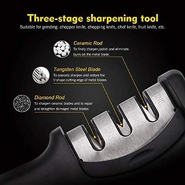 FLYNGO Manual Knife Sharpener 3 Stage Sharpening Tool for Ceramic Knife and Steel Knives 8