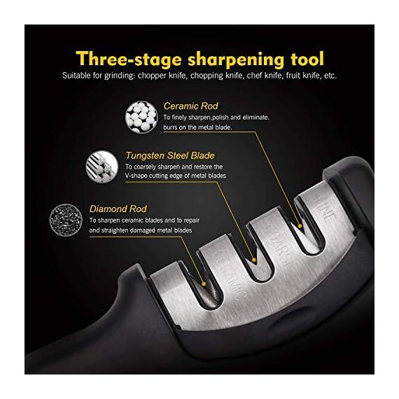 FLYNGO Manual Knife Sharpener 3 Stage Sharpening Tool for Ceramic Knife and Steel Knives 2