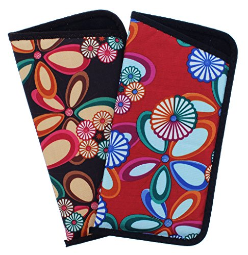 2 Pack Soft Slip In Eyeglass Case For Women In A Fun Floral Design, Red & Brown