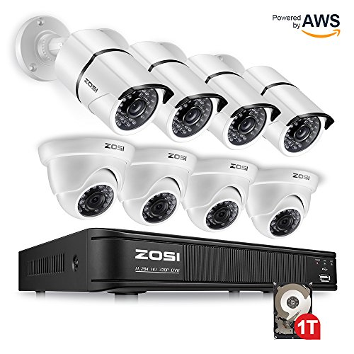 Complete Dvr System (ZOSI 720p HD-TVI 8 Channel Security Camera System,1080N Surveillance DVR Reorder with Hard Drive 1TB and (8) HD 1280TVL Outdoor/Indoor Weatherproof CCTV Cameras,Remote Access and Motion Detection)