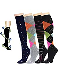 4 Pairs Dr. Motion Therapeutic Graduated Compression Womens Knee-hi Socks…