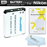 Battery Kit For Nikon Coolpix S3700, S2900, S33, S7000, S6900, S3500, S6400, S3100, S4100, S100, S4300, S3300, S5200, S6500, S3200, S4200 Digital Camera Includes Replacement Extended (1000Mah) EN-EL19 Battery + LCD Screen Protectors + MicroFiber Cleaning Cloth (BATTERY ONLY)