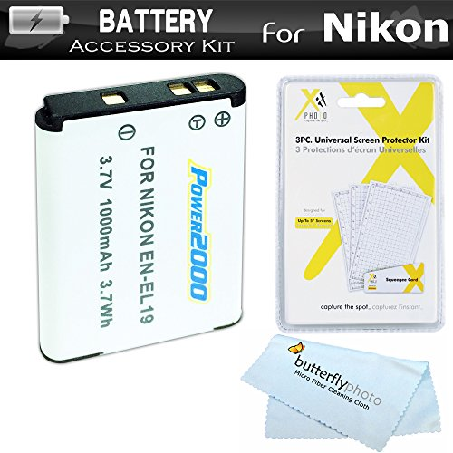 Battery Kit For Nikon Coolpix S3700, S2900, S33, S7000, S6900, S3500, S6400, S3100, S4100, S100, S4300, S3300, S5200, S6500, S3200, S4200 Digital Camera Includes Replacement Extended (1000Mah) EN-EL19 Battery + LCD Screen Protectors + MicroFiber Cleaning Cloth (BATTERY ONLY) (Battery Lithium 1000mah Ion Extended)