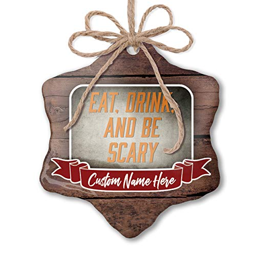 NEONBLOND Custom Family Ornament Eat, Drink and Be Scary Halloween Spooky Design Personalized Name ()