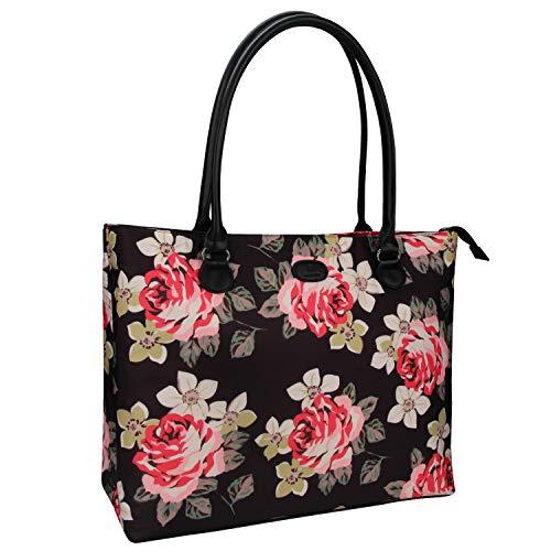 Laptop Tote Bag,Chomeiu 15.6 inch Laptop Organizer Bag Multi-Compartment Waterproof Briefcase Shoulder Bag for Women (Flower) (Flower Laptop Bag)