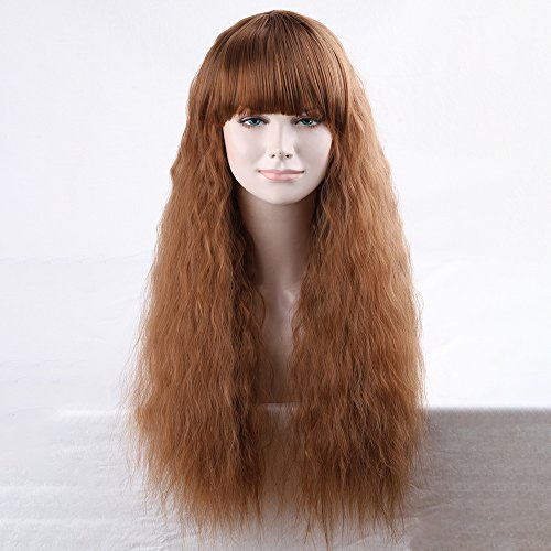 [Superwigy Lady's Long Fluffy Light Brown Synthetic Wig with Bangs for Party] (Brown Long Wig With Flower)
