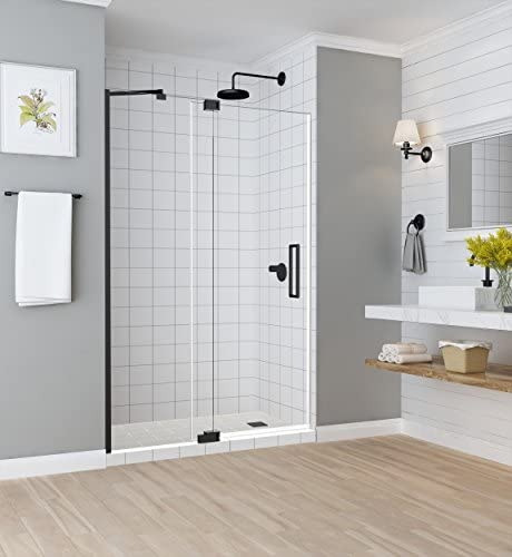 Aston Madox Frameless Pivot-Hinged Shower Door with StarCast Clear Glass, 54 in. to 60 in. W x 74.875 in. H, Oil-Rubbed Bronze