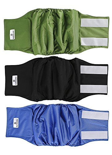 Pet Parents Premium Washable Dog Belly Band (3pack) of Male Dog Diapers, Color: Gentlemen, Size: Medium Dog Wraps by Pet Parents