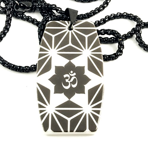 Nonesuch Creations Om Geometric Pattern High Tech Ceramic dog tag pendant with rounded box necklace Tech Game Day Ceramic