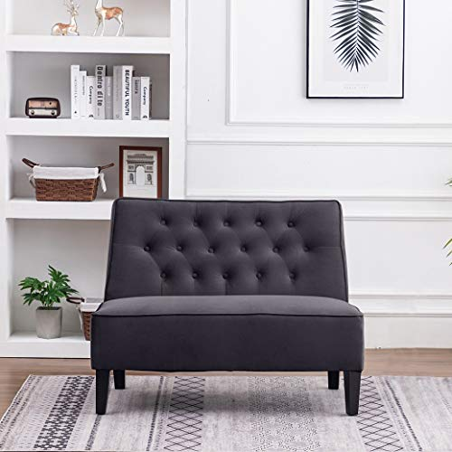 Haobo Button Tufted Loveseat Settee Upholstered Sofa Backrest Buckle Couch Banquette Bench for Dining Room Living Room Bedroom Funiture(Gray 1)