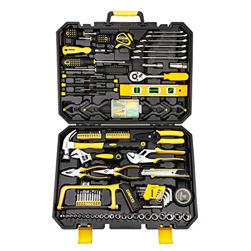 DEKOPRO 168pcs Socket Wrench Auto Repair Tool Combination Package Mixed Tool Set Hand Tool Kit with Plastic Toolbox Storage Case (168PCS) (Hands Tools)