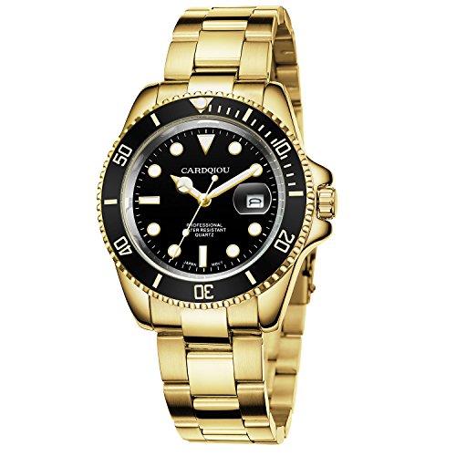 Gold Bezel Watch - Cardqiou Men Gold Watches Luminous, Rotating Bezel,Quartz Calendar Stainless Steel Watch