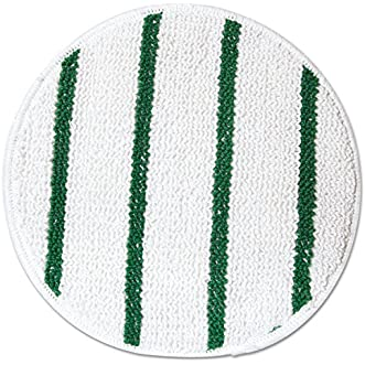 Rubbermaid Commercial RCP P267 Low Profile Scrub-Strip Carpet Bonnet, 17  Diameter, White/Green