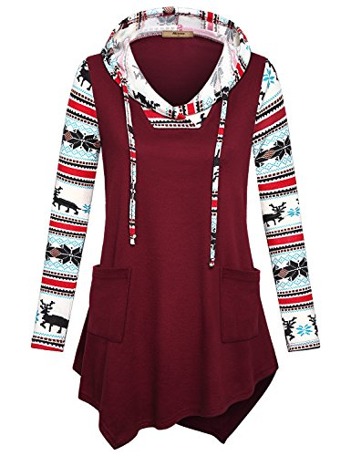 Miusey Drawstring Hoodie For Women, Ladies Comfy Reindeer Print Long Sleeve Top Pullover Sweatshirts To Wear With Leggings Casual Loose Patchwork Winter Basic Hooded With Pockets Burgundy XXL