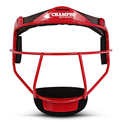 Champro The Grill Defensive Fielder's Facemask, Scarlet, 6 1/4