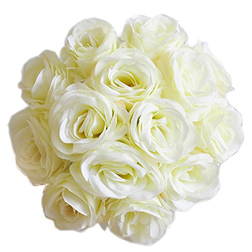cn-Knight Artificial Flowers 50PCS Silk Rose with Wire Stem Real-Touch Fake Rose for DIY Wedding Décor Bride&Bridesmaid Bouquets Home Office Baby Shower Party Prom Centerpieces Arch Garland(White) -
