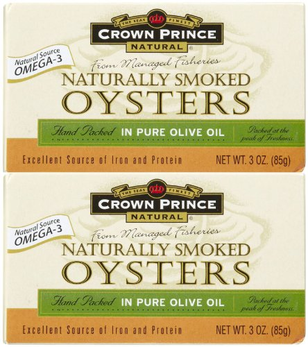 Crown Prince Natural Smoked Oysters In Pure Olive Oil, 3 oz, 3 pk by Crown Prince