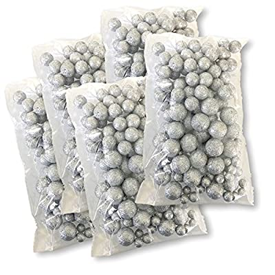 Silver Iridescent Foam Balls - Large Set of Glittered Vase Filler Decorative Balls – Table Scatter Decorations – Silver Party Decor - Sizes of Mini Glittery Silvery Snow Balls