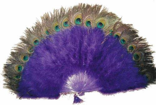Marabou Feather Fan w/ Peacock - ROYAL BLUE 24
