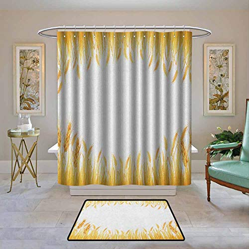 Kenneth Camilla01 Home Decor Shower Curtain by Harvest,Crop Rice Field Frame Cereal Bread Seasonal Farmland Flour Food Theme, Marigold Yellow White,Fabric Bath Curtain Bathroom Decor 36