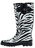 Sunville New Brand Women's Rubber Rain Boots,8 M US,Zebra