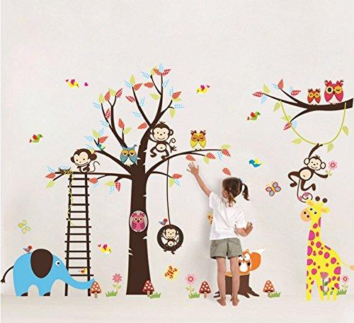 Colorfulworld® XXXL! Dschungel-Zoo(pink): Affe Giraffe Elefant & Eule Wandtattoo Wandaufkleber Wandsticker Kinderzimmer Geschenk