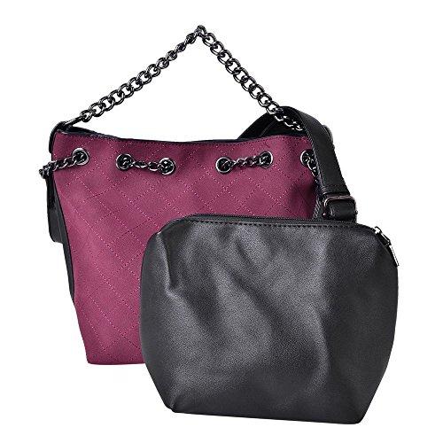 Set of 2 Burgundy Colour Handbag with Chain Strap, Black Pouch
