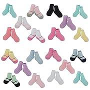 Little Me 20 Pair Pack Unisex Baby Infant Newborn Girls Anklet Socks in Gift Box Set, Textured, Multi, 0-12/12-24 Months