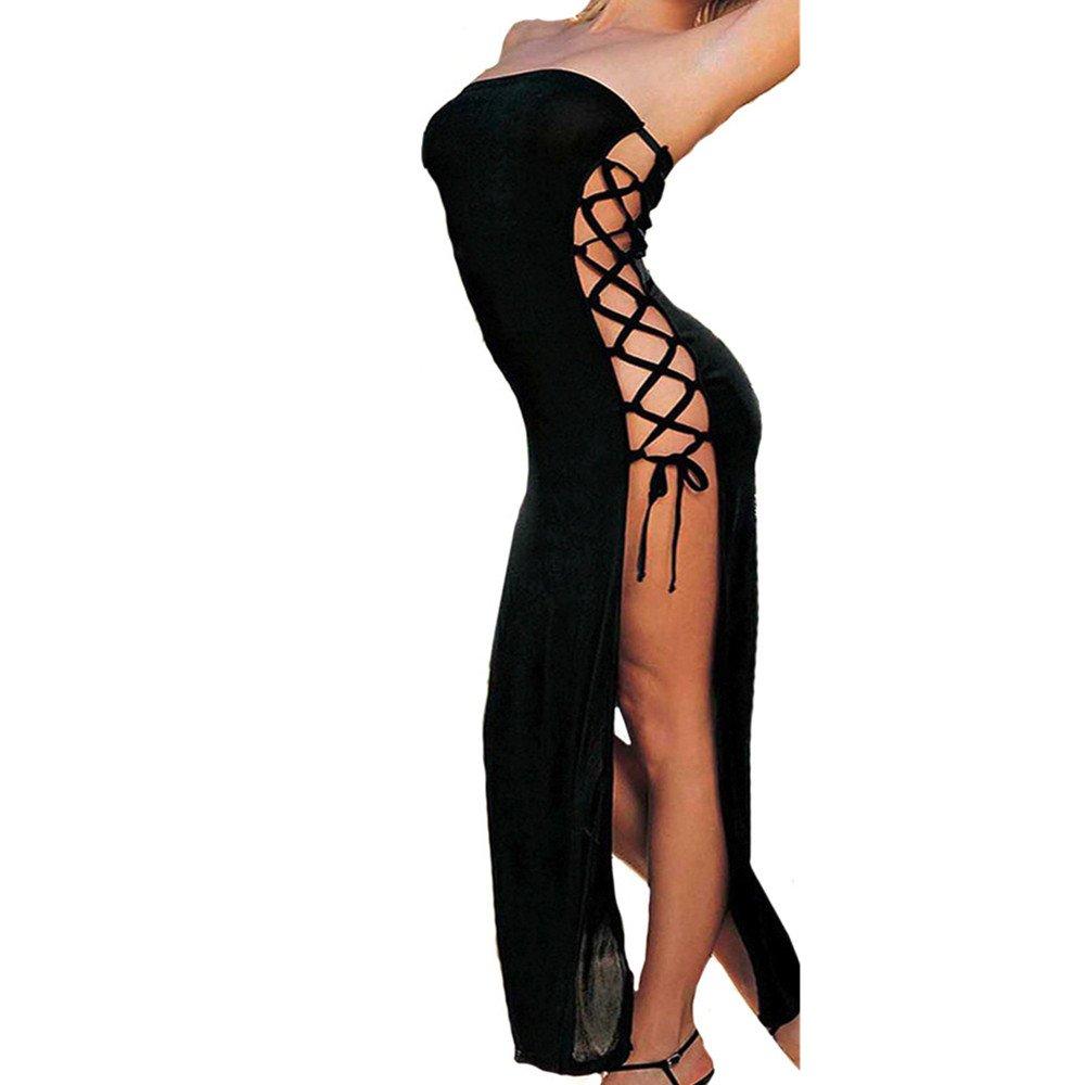 Women Cross Badage Tube Top Long Dress Temptation Sleepwear Underwear