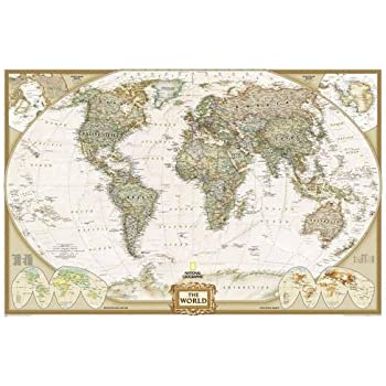 Amazoncom Mural World Map Map Type Executive Wall Murals - National geographic world map wallpaper