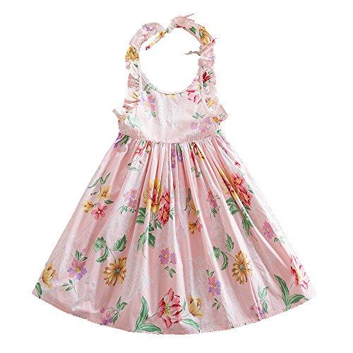 JUXINSU Summer Kids Princess Sleeveless Dresses for Girls Beach Dress Cotton Children Clothes 1-7 Years SH611 (3t, -