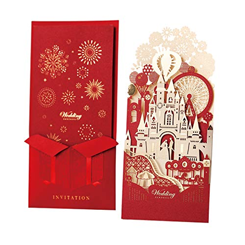 (WISHMADE Laser Cut Wedding Invitations Cards with Envelope, Fairy Tales 3D Red Bride and Groom in Castle Design for Engagement Bridal Shower Wedding Invites (Sample))