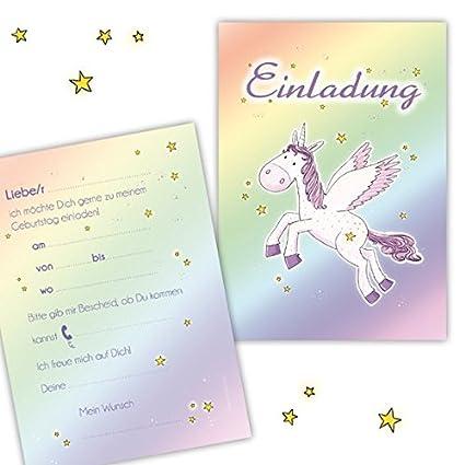 10 Tarjetas De Invitación Unicornio Para Cumpleaños Para