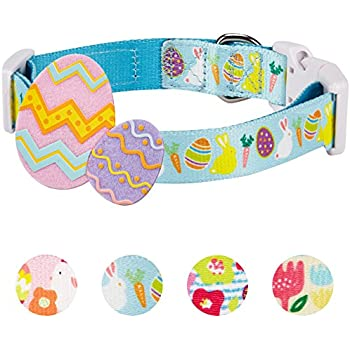 """Blueberry Pet 4 Patterns Easter Spring Bunny and Egg Designer Dog Collar in Sky Blue, Small, Neck 12""""-16"""", Adjustable Collars for Puppy Dogs"""
