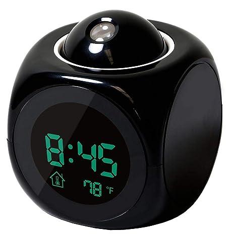 Bodbii Inicio Proyección de Despertador Gran Pantalla de Fecha y Hora Temperatura Proyector Digital de luz
