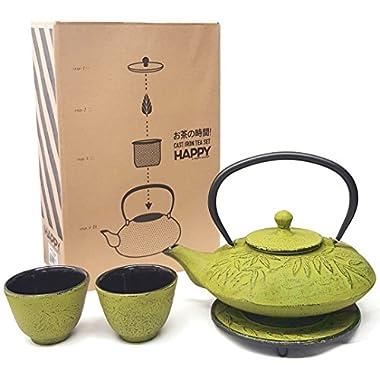 Happy Sales HSCT-MBY08, Cast Iron Tea Pot Tea Set Mochi Bamboo Med Green