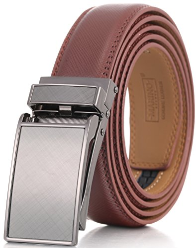 Marino Men's Genuine Leather Ratchet Dress Belt with Linxx Buckle, Enclosed in an Elegant Gift Box - Brown - Style 109 - Custom: Up to 44