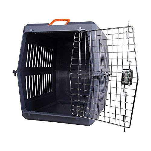 Livebest Portable Plastic Hard-Sided Pet Carrier Crate Outdoor Kennel Car Travel Box for Small Animals (XL, Blue) by Livebest