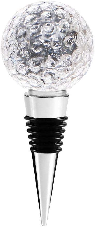 AXAYINC 1pcs Decorative Crystal Wine and Beverage Bottle Stopper for Wine,Made of Zinc Alloy and Glass,Reusable Plug with Gift Box. (1Golf)