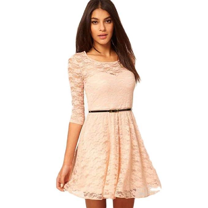 256843730166b Fashion Womens Puffy Swing Casual Sexy Lace Hollow Clubwear Elegant ...