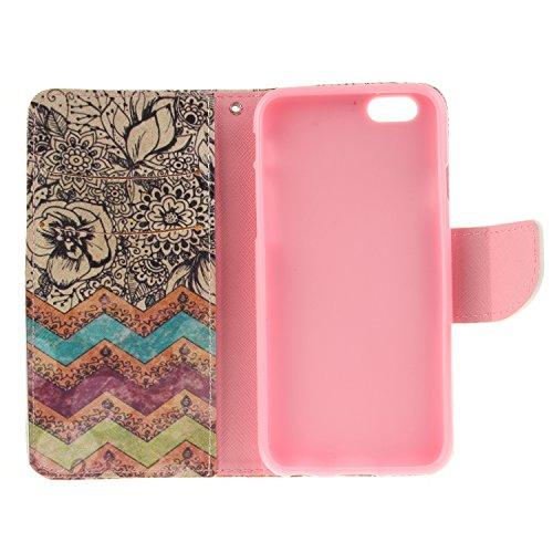 iPhone 6/iPhone 6S Schutzhülle, urvoix (TM) Ständer Leder Brieftasche Fall–Flower Wave Flip Cover für 11,9cm iPhone 6/6S (nicht für 6Plus)