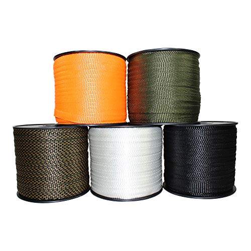 Polyester Webbing (5/8 inch) - SGT KNOTS - Flat Rope - Durable Polyester Pull Tape Strap - Moisture, UV, Rot, Oil Resistant - Utility, Arborist, Gardening, Marine, Commercial (3,000 ft - Mason Stain Green