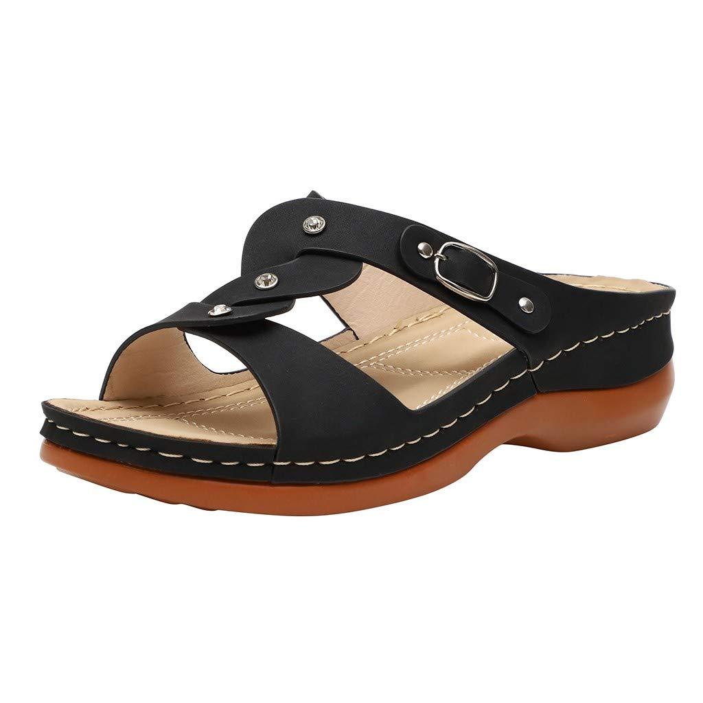 Trolimons Womens Bohemian Slippers Clip Toe Elastic Cross Strap Flat Bottom Flip Flops Vintage Shining Beach