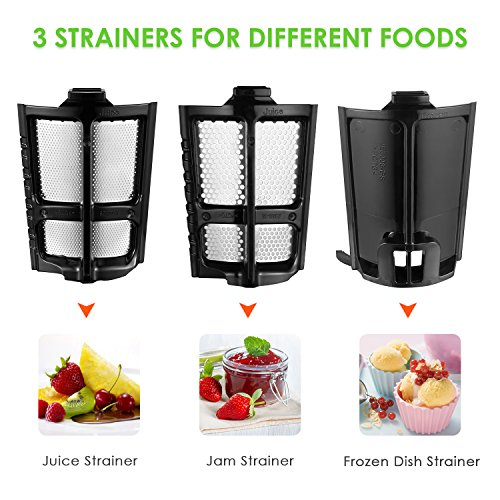 Aicok Entsafter Slow Juicer Presse : Juicer Slow Masticating Juicer Extractor, 3 Strainers for ...