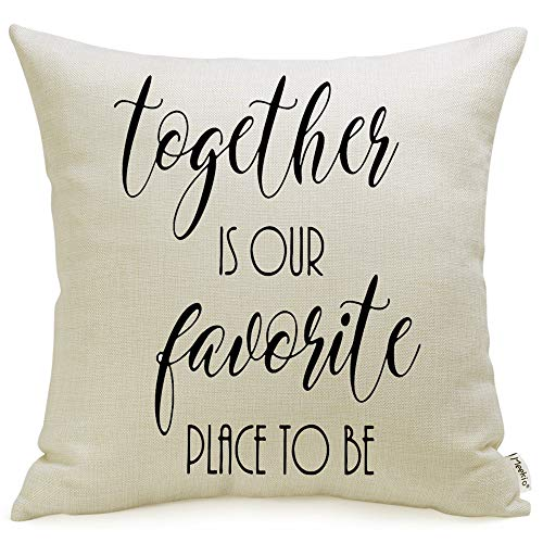 Meekio Farmhouse Pillow Covers with Together is Our Favorite Place to Be Quote 18 x 18 for Farmhouse Décor Housewarming Gifts New Home Gifts ()
