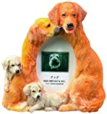 Golden Retriever Picture Frame Holds Your Favorite 2 x 3 Inch Photo, Hand Painted Realistic Looking Golden Retriever Family Surrounding  Your Photo. This Beautifully Crafted Frame is A Unique Accent To Any Home or Office. The Golden Retriever Picture Fram