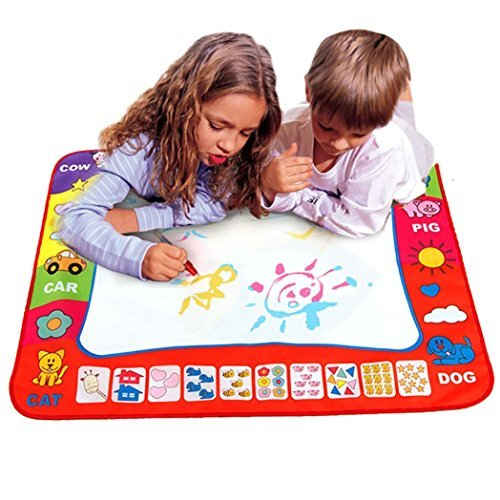 Aqua Doodle Mat 4 Color Children Water Magic Drawing Book Mat Board & Magic Pen Doodle Kids Educational Toy Gift with 2 Magic Drawing Pens for Boys Girls Toddlers Kids Children 31.5