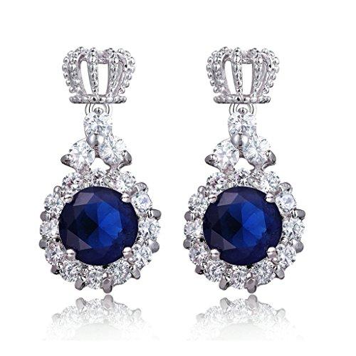Epinki Women's White Gold Plated Jewelry Dangle Earrings Crown Shape Round AAA CZ - Peridot Heart Crown Earrings