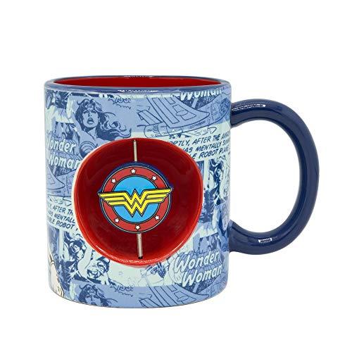 Marvel WW11443H Wonder Woman Ceramic Spinner Mug 20-Ounce Blue