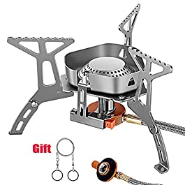 VSNOON Backpacking Stove with Windproof Design, Gas Camping Stoves with Piezo Ignition – Portable & Light – Top Mini…